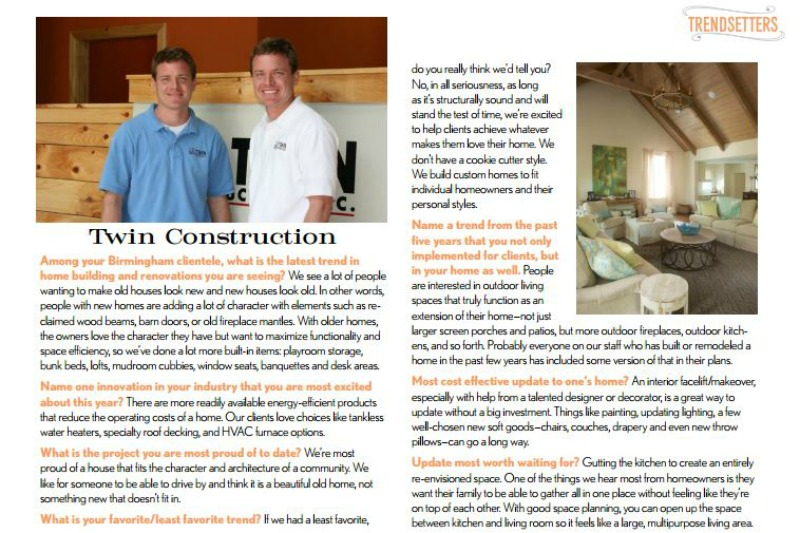 "Featured as a ""Trendsetter"" in Birmingham Home & Garden"